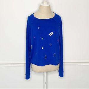 Juicy Couture Embellished Long Sleeve Blue Sweater
